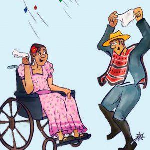 Aparecen dos personas dibujadas, una mujer vestida de china en una silla de ruedas y un huaso zapateando