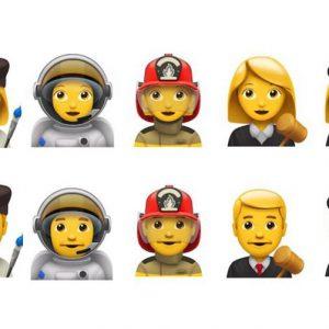De izquierda a derecha, cinco emojis con profesiones: Artista, astronauta, bombero, juez, policía. Ambos en versión femenina y masculina.