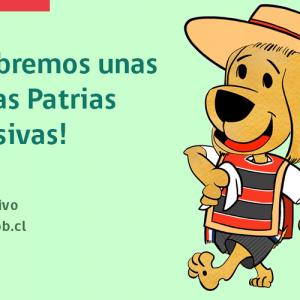 """Caricatura de perro vestido de huaso, bajo la frase """"¡Celebremos unas fiestas patrias inclusivas!""""."""