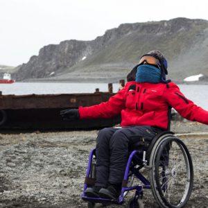 Carolina Pérez en su llegada a la Antártica.