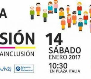 Afiche Marcha de la Inclusión, con imagen animada de personas con las distintas banderas de las organizaciones convocantes.