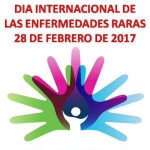 """En la fotografía, enunciado de """"Día Internacional de las enfermedades raras 28 de febrero 2017"""", acompañado de manos verde, rosada, azul y celeste, unidas."""