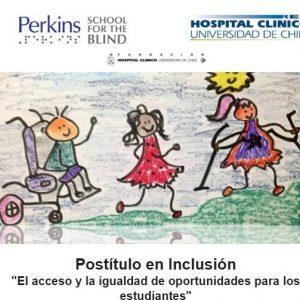 """En la fotografía, una gráfica se muestra un dibujo donde aparece un niño con silla de rueda, una niña y otra niña con muletas, con el enunciado """"Postítulo en Inclusión: el acceso y la igualdad de oportunidades para los estudiantes""""."""