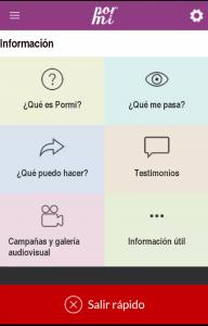 En la imagen la gráfica de la aplicación Pormí acompañado de seis recuadros donde el primero corresponde a ¿qué es Pormí?, el segundo a ¿qué me pasa?, el tercero a ¿qué puedo hacer?. el cuarto a testimonios, el quinto a campañas y galería audiovisual y el sexto a información útil-